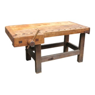Antique Workbench Signed J. Hoffman New York For Sale