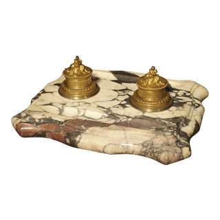 Large Antique French Marble and Bronze Inkwell, Circa 1880 For Sale