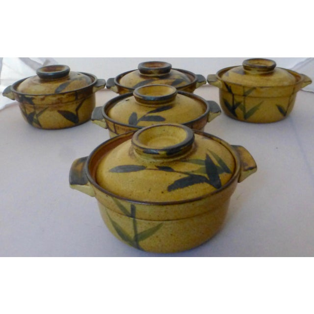 Ceramic Chinoiserie Inspired Studio Pottery Covered Soup Bowls ~ Set of Five For Sale - Image 7 of 13