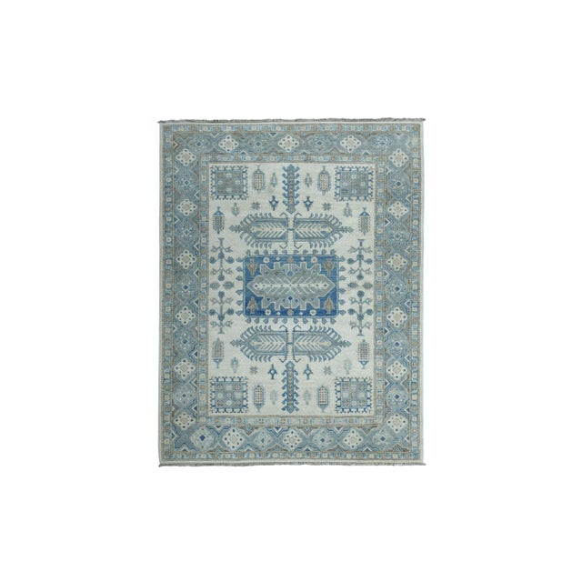 Textile Kazak Geometric Design Wool Hand-Knotted Rug For Sale - Image 7 of 7