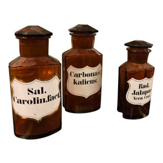 Trio of Antique Amber Glass Apothecary Jars For Sale
