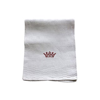 Antique French Linen Tea/Hand Towel W/ Crown For Sale