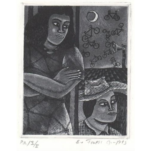 1993 Modern Portrait Aquatint With Flying Bicycles For Sale In Atlanta - Image 6 of 6