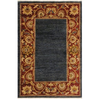 Gabbeh Kenneth Blue/Red Wool Area Rug -3'11 X 5'9 For Sale