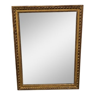 Art Deco Gold Wood Framed Vertical Wall Mirror For Sale
