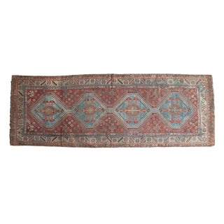 "Vintage Distressed Qashqai Rug Runner - 3'8"" X 10'4"""