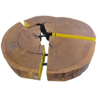 Reclaimed Sculptural Lirio Mirindiba Wood Coffee Table Wheels by Valeria Tot For Sale