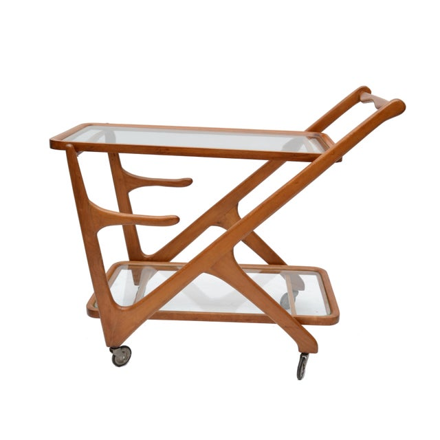 Brown Cesare Lacca Wooden Bar Cart for Cassina, Italy For Sale - Image 8 of 8