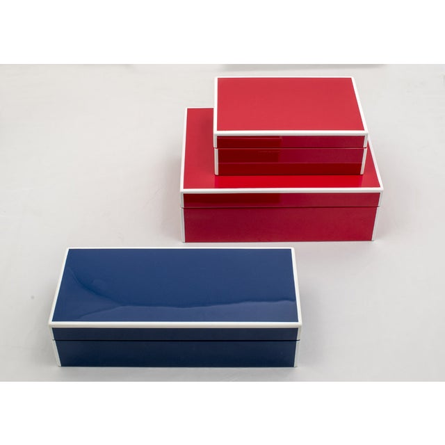 Red Lacquered Boxes - A Pair - Image 2 of 2
