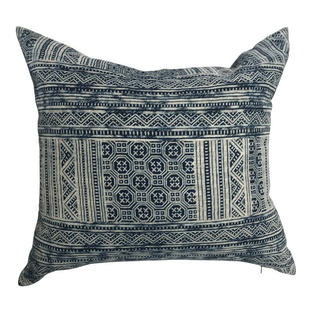 Indigo Hill Tribe Batik Blue & White Cotton Pillow For Sale