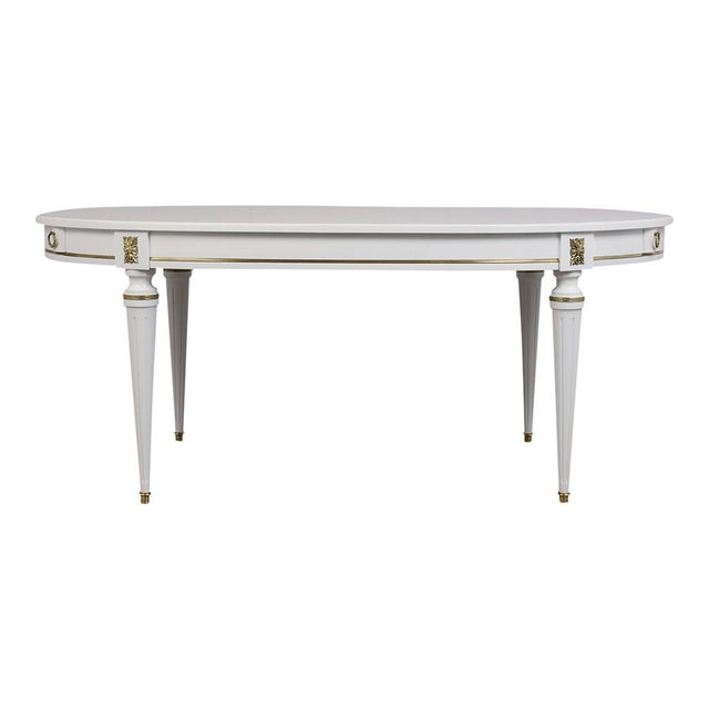 French Traditional French Lacquered Louis XVI Style Oval Dining Table For Sale - Image 3 of 10