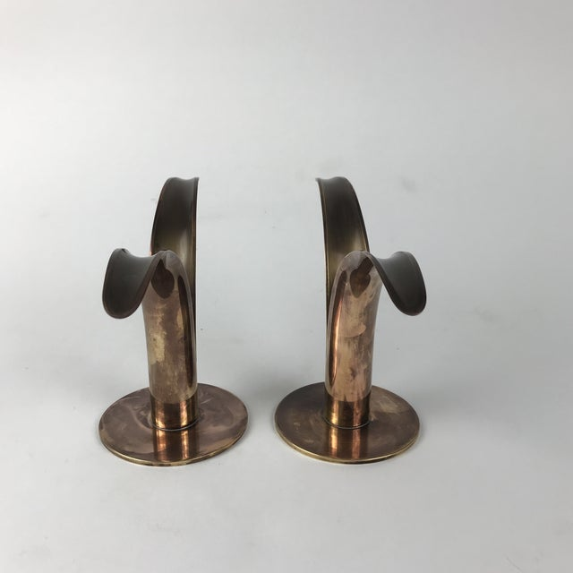"""Ystad-Metall Mid-Century Swedish Brass """"Lily"""" Candlesticks - A Pair For Sale - Image 4 of 9"""