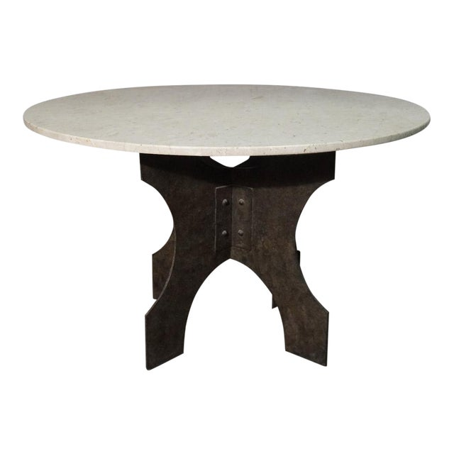 Iron X-Base Dining Table For Sale