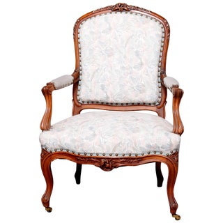 Vintage Mid Century French Louis XVI Carved Fruitwood Upholstered Armchair For Sale