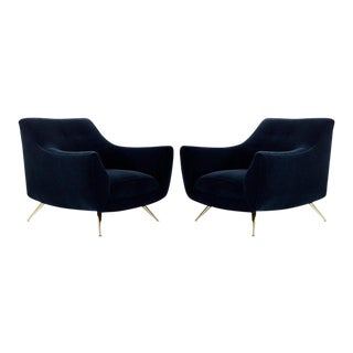 Mid-Century Modern Henry Glass Lounge Chairs in Navy Mohair - a Pair For Sale