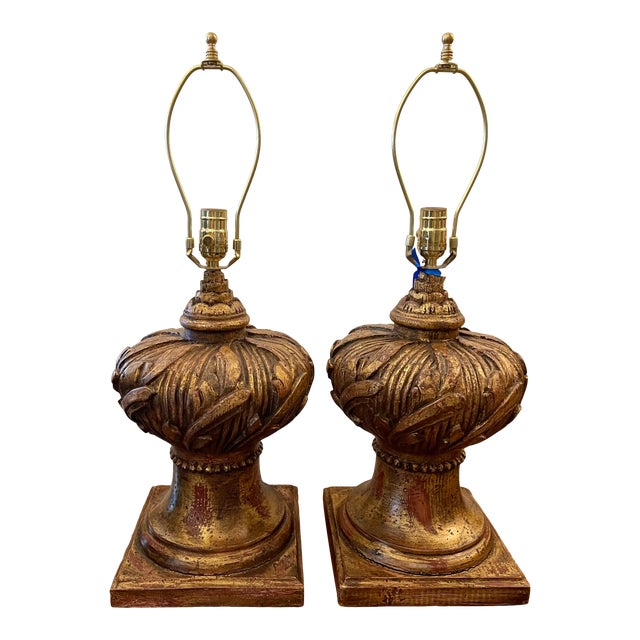 Hollywood Regency Venetian Urn Form Giltwood Table Lamps For Sale