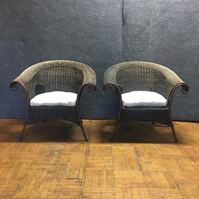 Wood & Iron Outdoor Armchairs W/ Seat Cushions - A Pair - Image 2 of 10