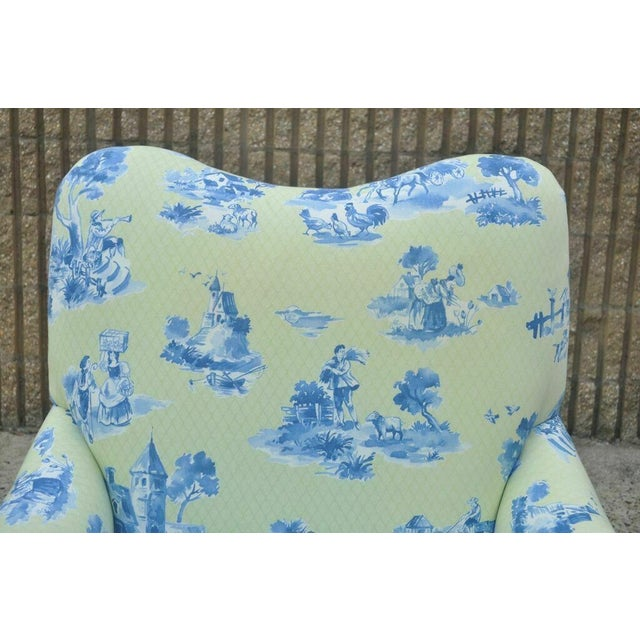 Drexel Heritage Drexel Heritage Vera Bradley Rolled Arm French Country Club Chair & Ottoman For Sale - Image 4 of 13