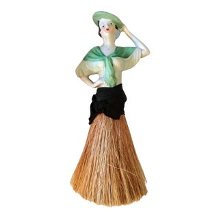 1920s Art Deco German Half Doll Ceramic and Straw Brush