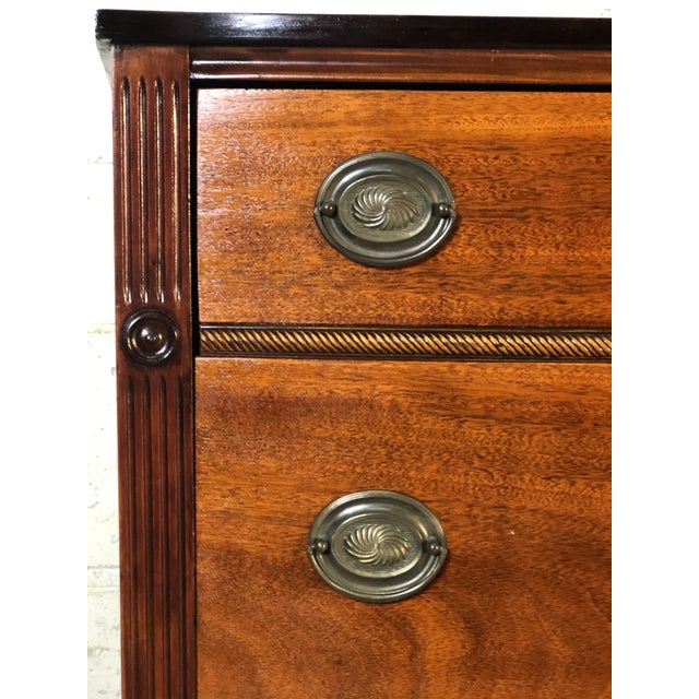 Traditional Vintage Mahogany Bow Front Low Dresser For Sale - Image 3 of 11