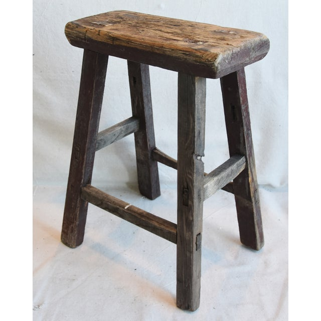 Brown Rustic Primitive Country Wood Farmhouse Stool For Sale - Image 8 of 9
