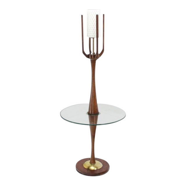 Vintage Mid-Century Sculptural Floor Lamp & Attached Table For Sale