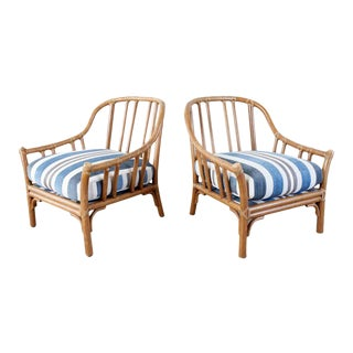 McGuire Organic Modern Rattan Lounge Chairs - a Pair For Sale