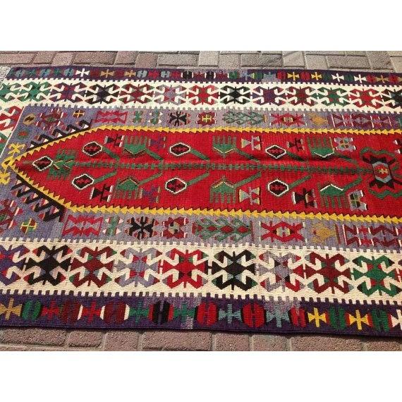 """Vintage Turkish Kilim Rug - 4'2"""" x 7'1"""" - Image 3 of 6"""