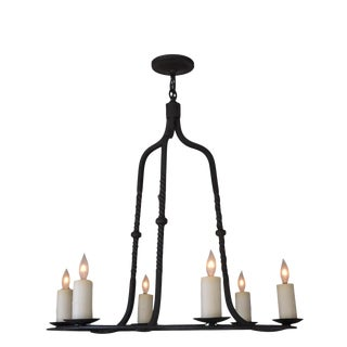 Paul Ferrante 6 Light Wrought Iron Rope Chandelier For Sale