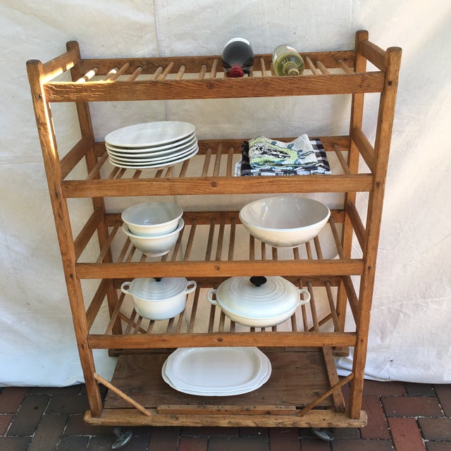 Wood Vintage Industrial Wooden Bakers Rack For Sale - Image 7 of 10