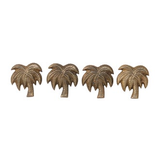 Brass Palm Tree Napkin Rings - Set of 4 For Sale