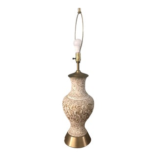 MCM Hollywood Regency Carved Lacquer Chinoiserie Brass Lamp For Sale