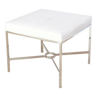 Modern Square Chrome X Base Bench For Sale
