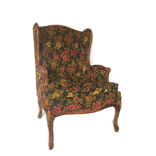 Vintage French Bohemian Wingback Armchair - Image 6 of 9