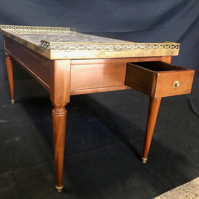 1920's French Louis XVI Style Walnut and Marble Coffee Table For Sale - Image 4 of 11