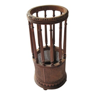 Vintage 1920 French Cane and Wood Umbrella Stand For Sale