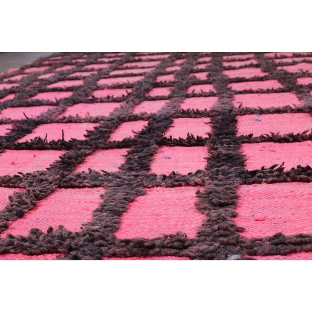 Hand Knotted Pink Geometric Moroccan Rug - 5' X 9' - Image 2 of 6