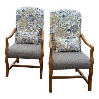 Farmhouse Blonde Wood/Floral Armchairs - a Pair For Sale
