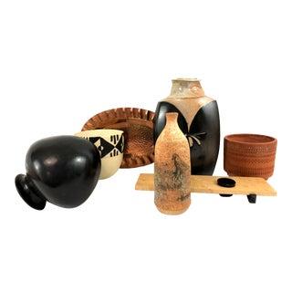 Organic Studio Pottery and Copper Vignette - 7 Pieces For Sale