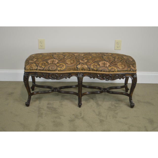 French Louis XV Style Carved Walnut Window Bench For Sale - Image 9 of 12