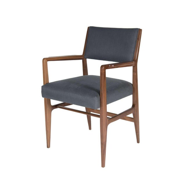 """Walnut dining chair. Seat height-19"""". Seat depth -19.5"""". COM requirements: 1.5 yards. 5% up-charge for contrasting fabrics..."""
