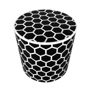 Honeycomb Bone Inlay Round Side Table For Sale