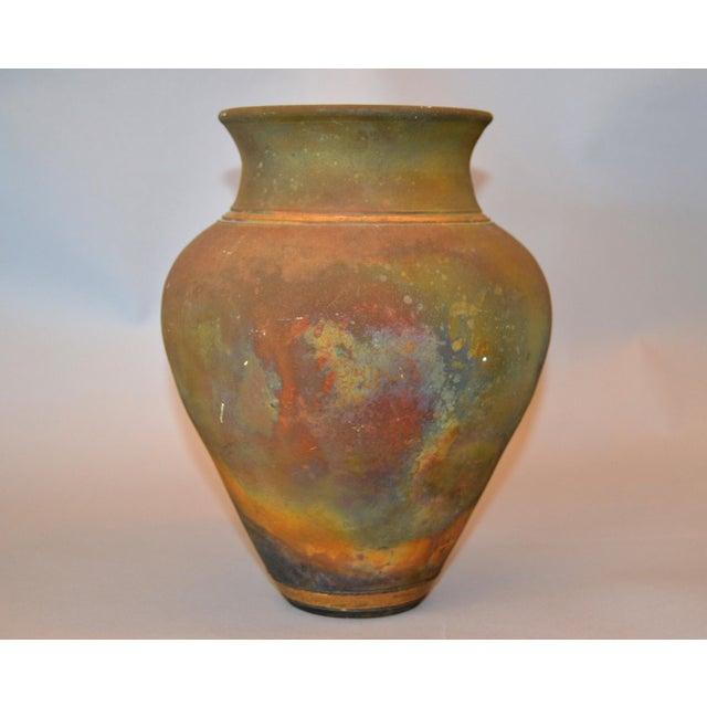 1980s Signed Mid-Century Modern Brown, Blue & Gold American Raku Vase, Vessel, Urn For Sale - Image 5 of 13