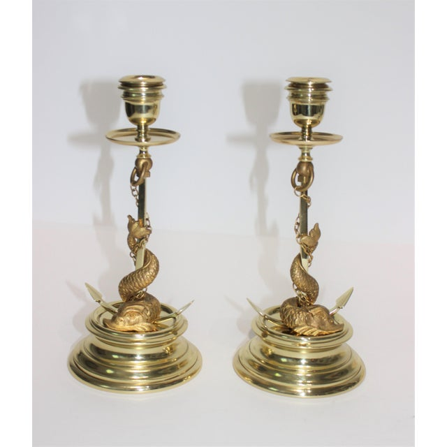 Gilt Bronze Candlesticks Sea Serpent Anchor Motif Italy Circa 1900 - a Pair For Sale - Image 12 of 13