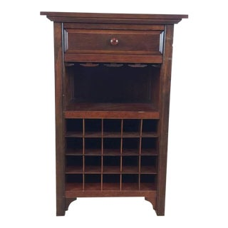 Crate & Barrel Contemporary Cherry Wood Wine Storage Table