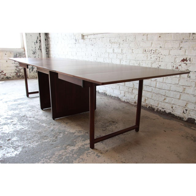 1950s Large Edward Wormley for Dunbar Mahogany Extension Dining Table For Sale - Image 5 of 13