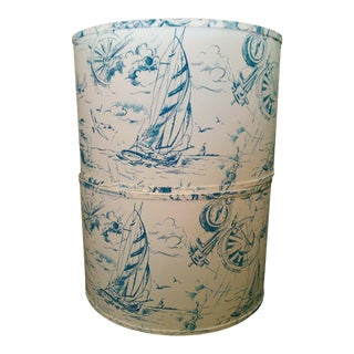 Blue and White Sailboat Lamp Shades - a Pair For Sale