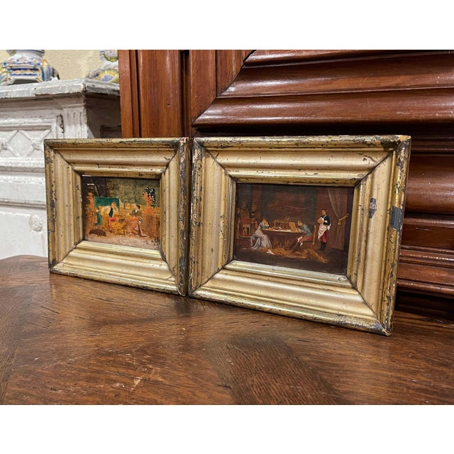 19th Century French Oil on Board Paintings in Carved Gilt Frames - a Pair For Sale In Dallas - Image 6 of 9