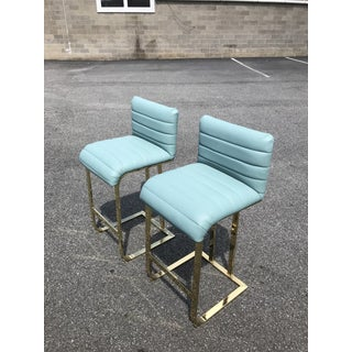 Pair of Brass Cantilevered Barstools Preview