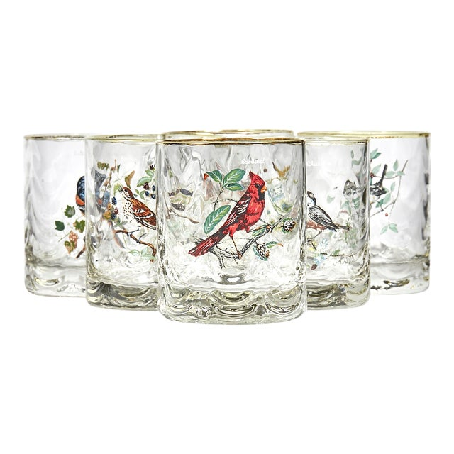 1960s Glass Bar Tumblers W/ Birds, Set of 6 For Sale
